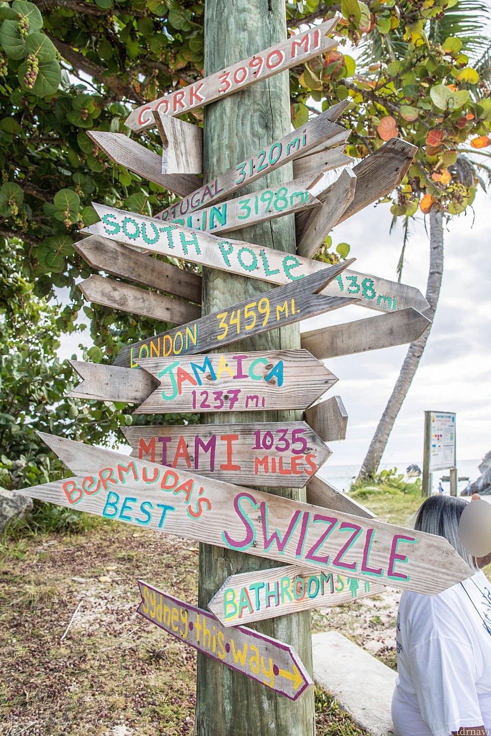 ビーチの看板には世界各地へのマイル数が
