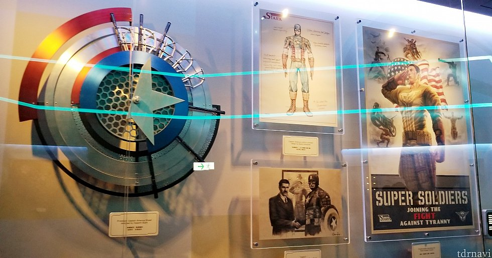 キャプテンアメリカに関する展示も。キャプテンアメリカの盾はトニーの父・ハワードが作ったものです