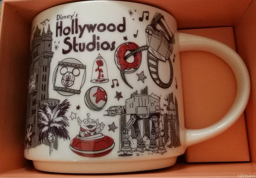 ハリウッドスタジオ ロックンローラーコースター、AT-AT、ピクサーボール、タワーオブテラーなどが描かれています
