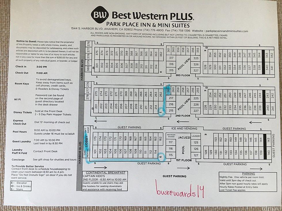 ホテルの館内マップです。