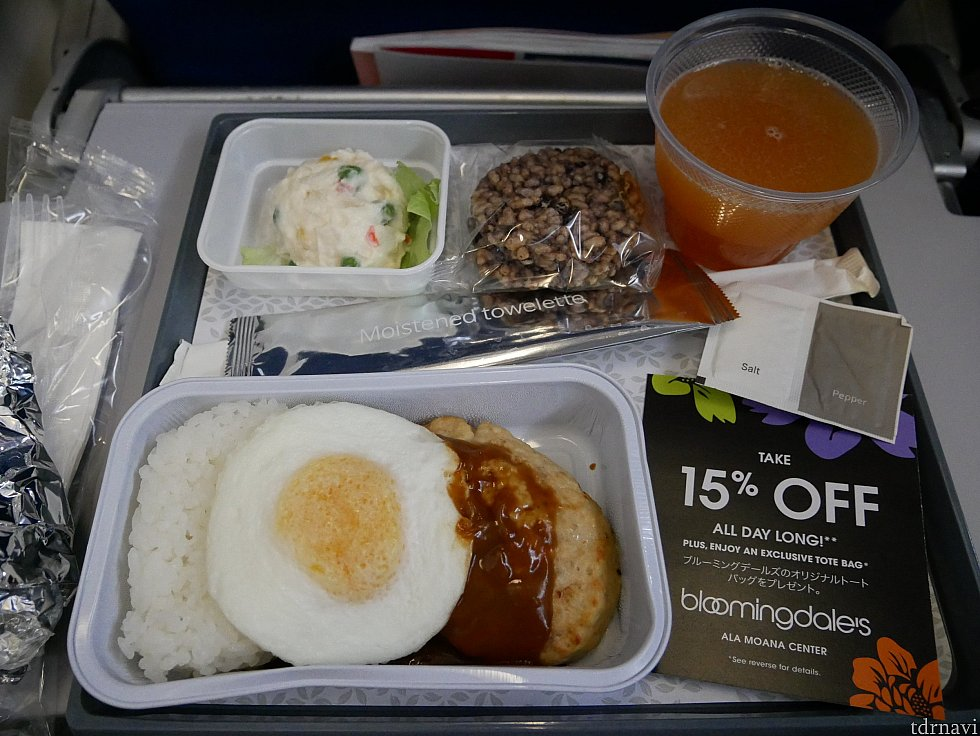 【往路】最初の機内食はロコモコでした。<br> お米でできたせんべいみたいなものがありましたが、甘さはなく美味しくもなく…