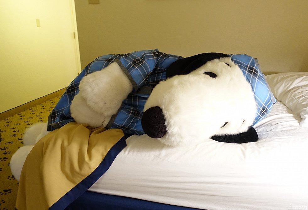 パジャマ・スヌーピーがゴロンと横たわる(笑)