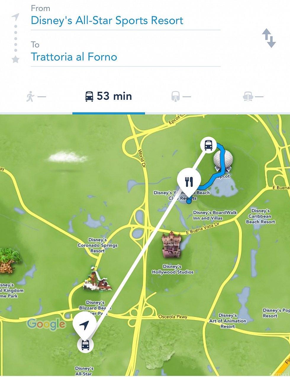 ちなみにちなみに公式アプリでオールスタースポーツからトラットリアまでの移動を検索したらエプコット経由の結果が出ました。これはシャトルバスでエプコットまで行って徒歩でインターナショナルゲートを通って〜というハードな無料の移動方法なのですが、パークがオープンしていないので7:40の朝食予約には不可能な移動方法です。