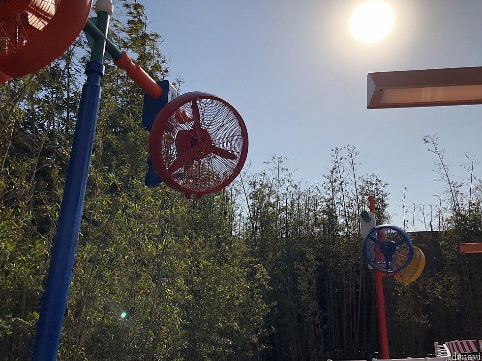 夏に向けてQラインには扇風機が多数!