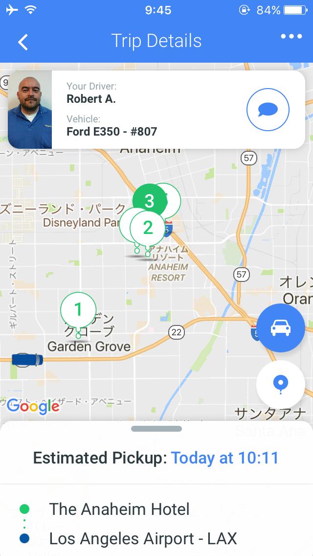 ピックアップ到着までの車のルートがアプリで確認できます。