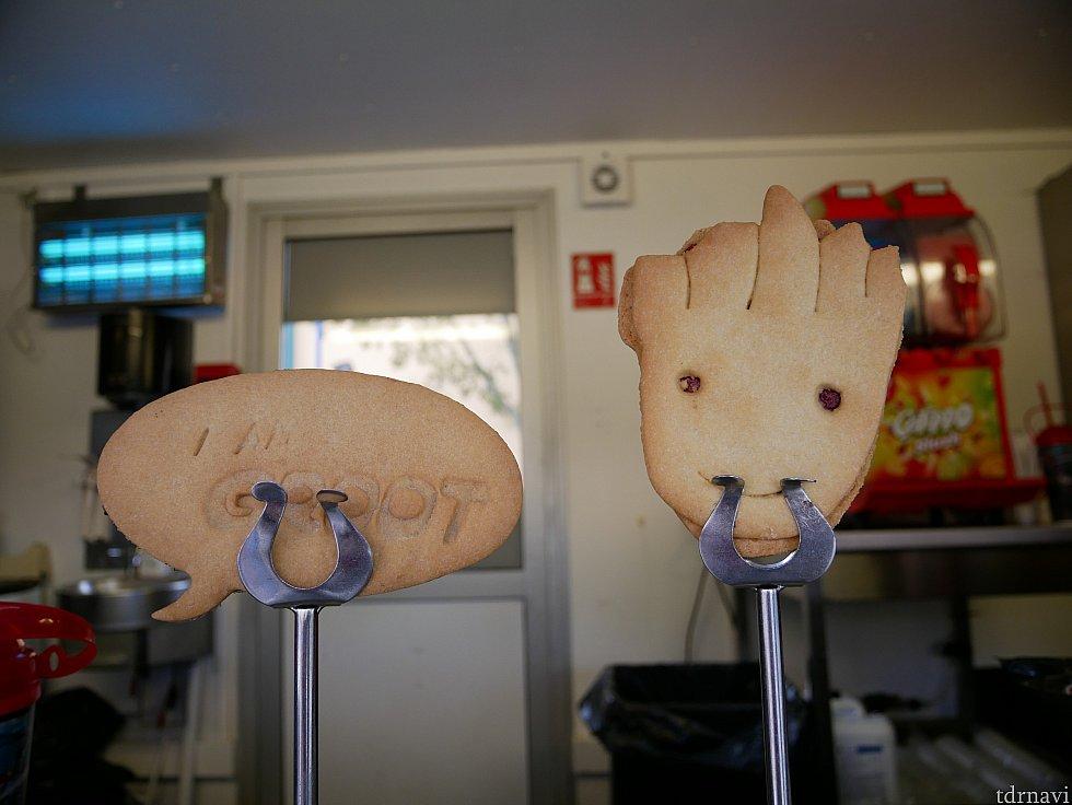 グルートのクッキー! メニューにはフランス語で『私はグルート』とか書かれていましたが、商品見本は英語でした🤣