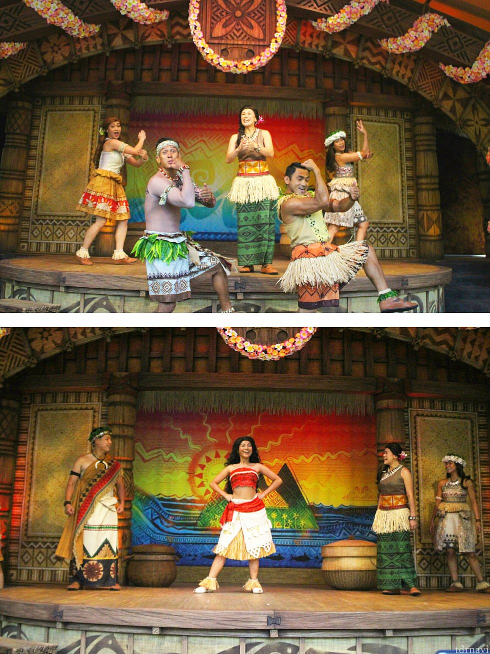 モトゥヌイの民らしい衣装で踊る村人たち、そして彼らに呼ばれて現れたのが主役のモアナ!ダンスがカッコいいので注目してください。