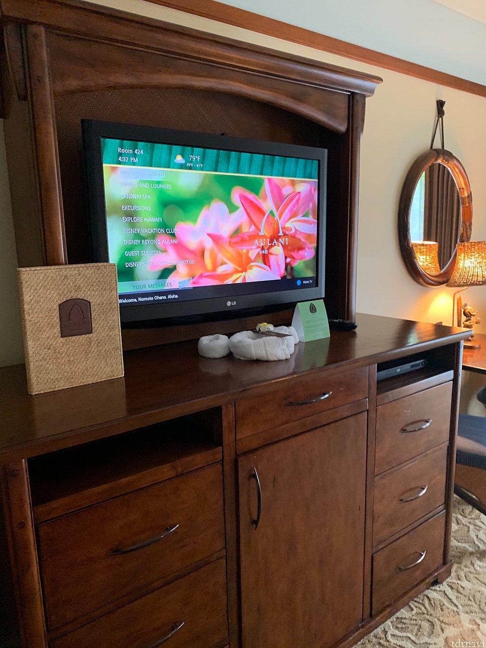 お部屋のテレビの画面! 一番下のディズニーフォトパスを選択して進むとお部屋で写真が見れます。