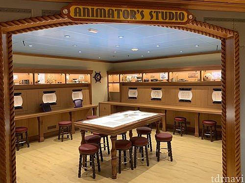 アニメーションスタジオ。キャラクターの絵を描く練習もできます。