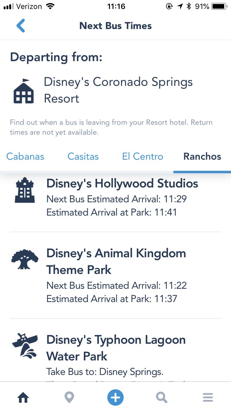 ホテル内に複数バス停があるときは指定すると、 そのバス停に来る各パーク行きのバス時刻が表示