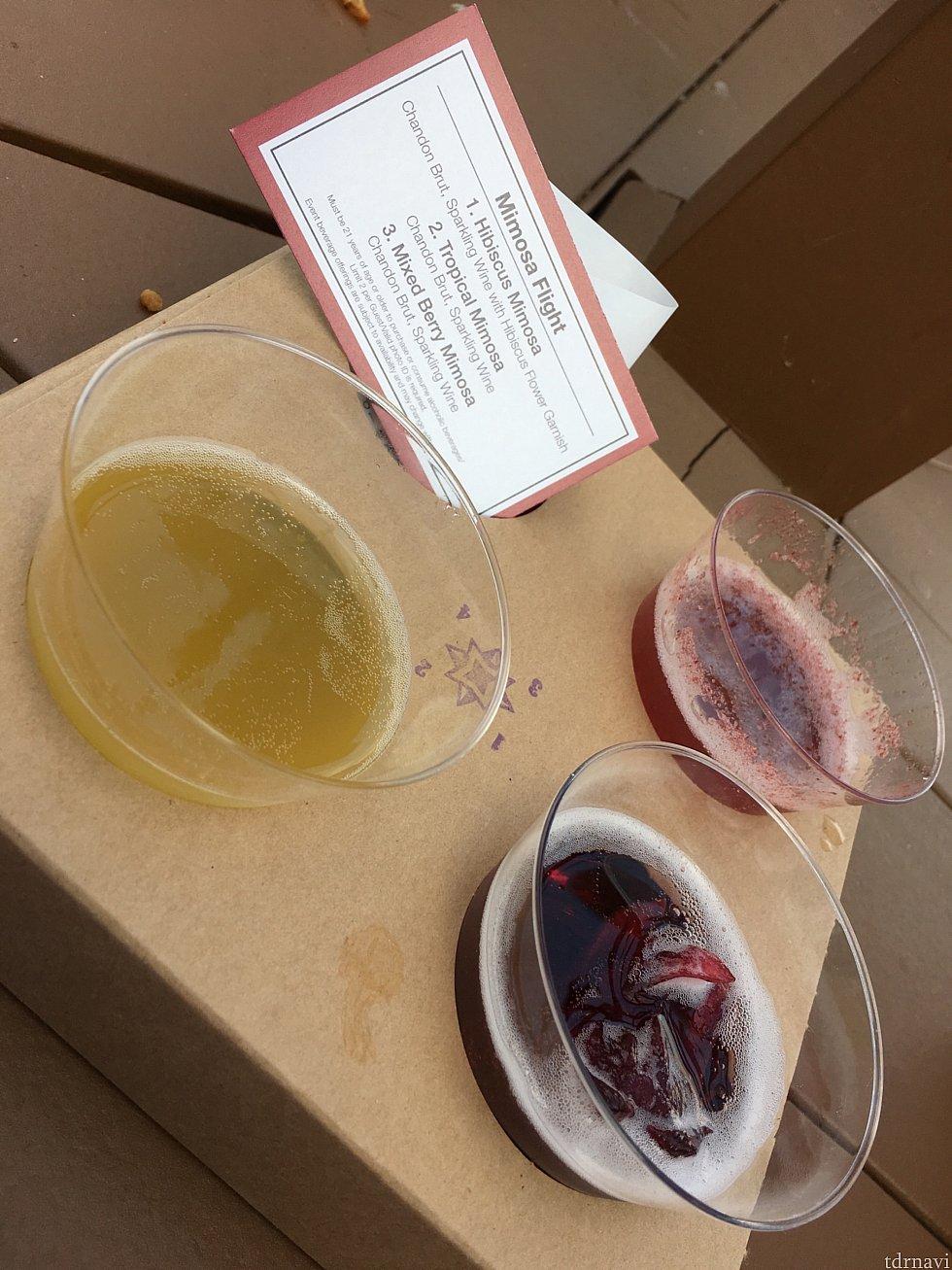 [UNCORK CALIFORNIA]のミモザの飲み比べセット。ハイビスカスミモザ🌺が甘くて飲みやすくて美味しかった🍷