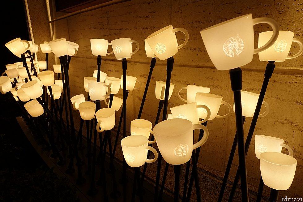 コーヒーカップのランプが個性的!
