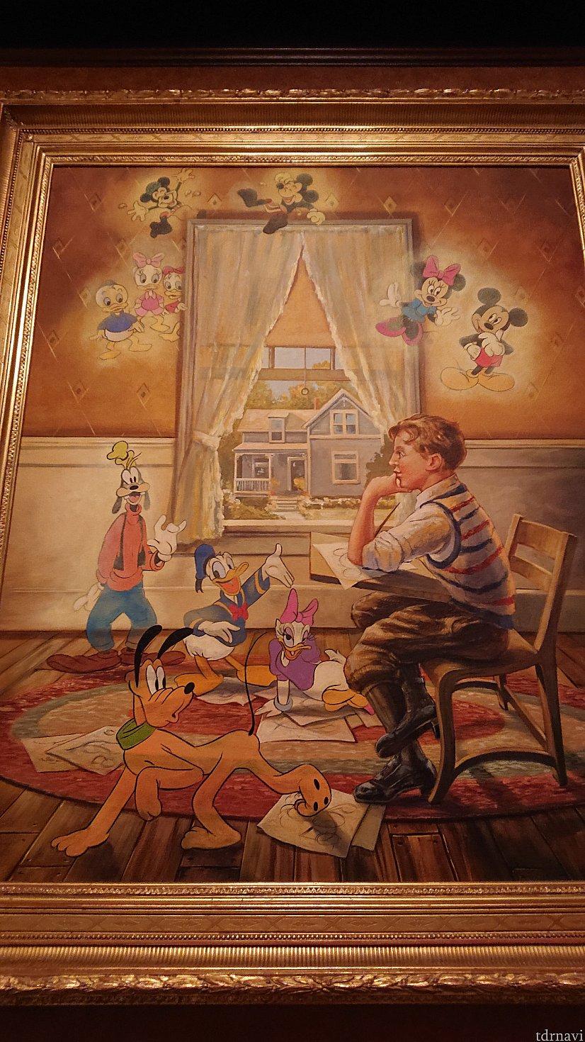 後ろにはこんなえも絵も…小さい頃、マーセリンで暮らしていた時のウォルトですかね?