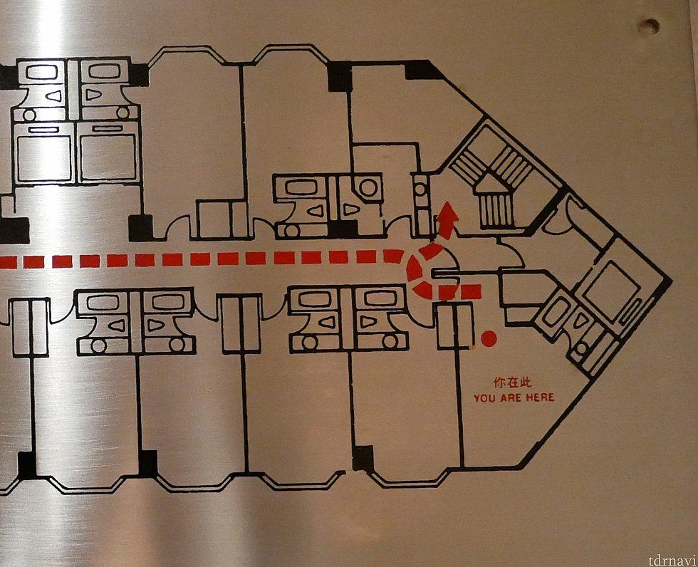 避難経路の図面で見ると、他の部屋より若干広いのかも? 図面で見る限り、このフロアは全室バスタブ付きのようです。
