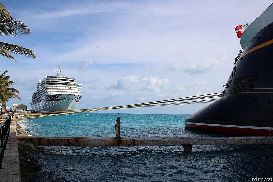 翌朝はアルカディアという客船が隣に入って来ました。 イギリスの船のようです!