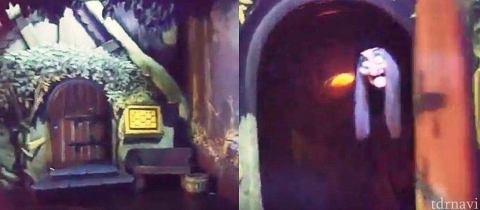 終盤魔女が毒リンゴを出すシーンも、アナハイムでは閉まっている扉が開いて中から魔女が現れます。これがさり気なく怖い。