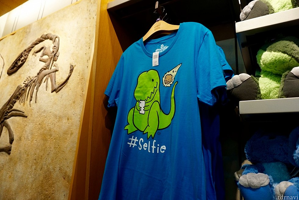 最近のダイナソーグッズはユーモアが効いているものも結構あり、面白いです。このTシャツは、迫り来る隕石と自撮りしようとしている恐竜さん。