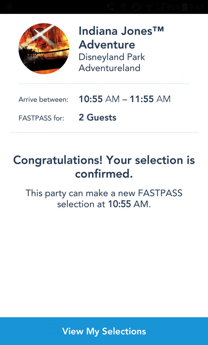 FastPass取得完了🎵 ※次のFastPassが取得できる時間もここに表示されるのでチェック!