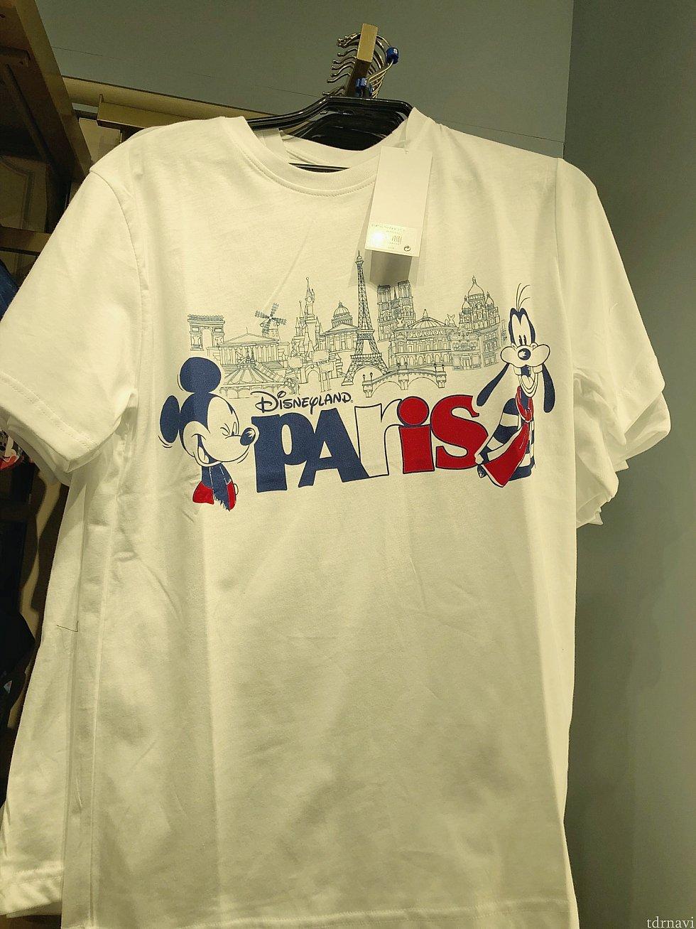 このTシャツはグーフィーがミニーちゃんになってるバージョンもありました♪19.99€