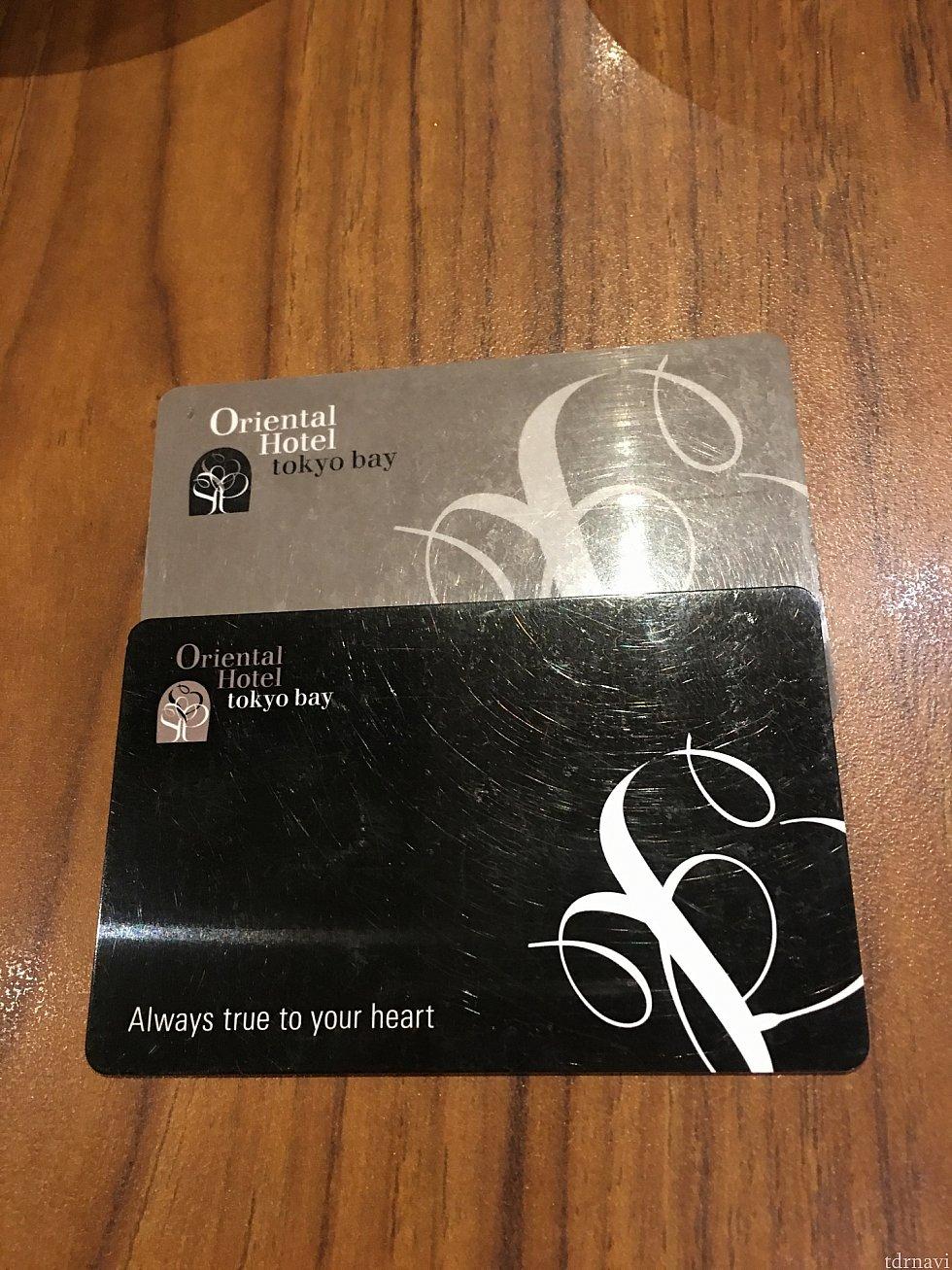 メンバーズカードを作るとレストラン利用料金が5%オフとポイントが10%つきます(^o^)上がメンバーズカード下がルームキー