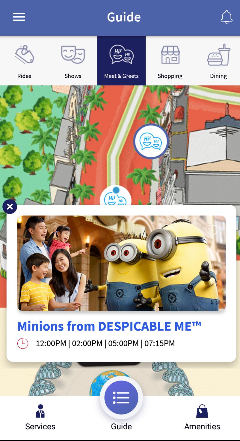 いつの間にかユニバーサルスタジオシンガポールのアプリができていました! アプリでざっくりグリーティング時間を確認できるキャラクターもいますが、全部は載っていないので、タイムガイドは紙でももらった方がよさそうです!