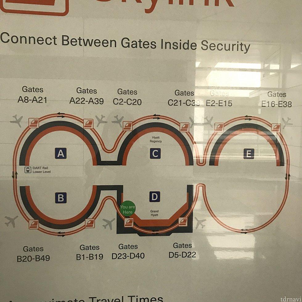 スカイリンクのMAPです。右回り、左回りがあるので、目的のターミナルゲートを目指して乗り込みます!