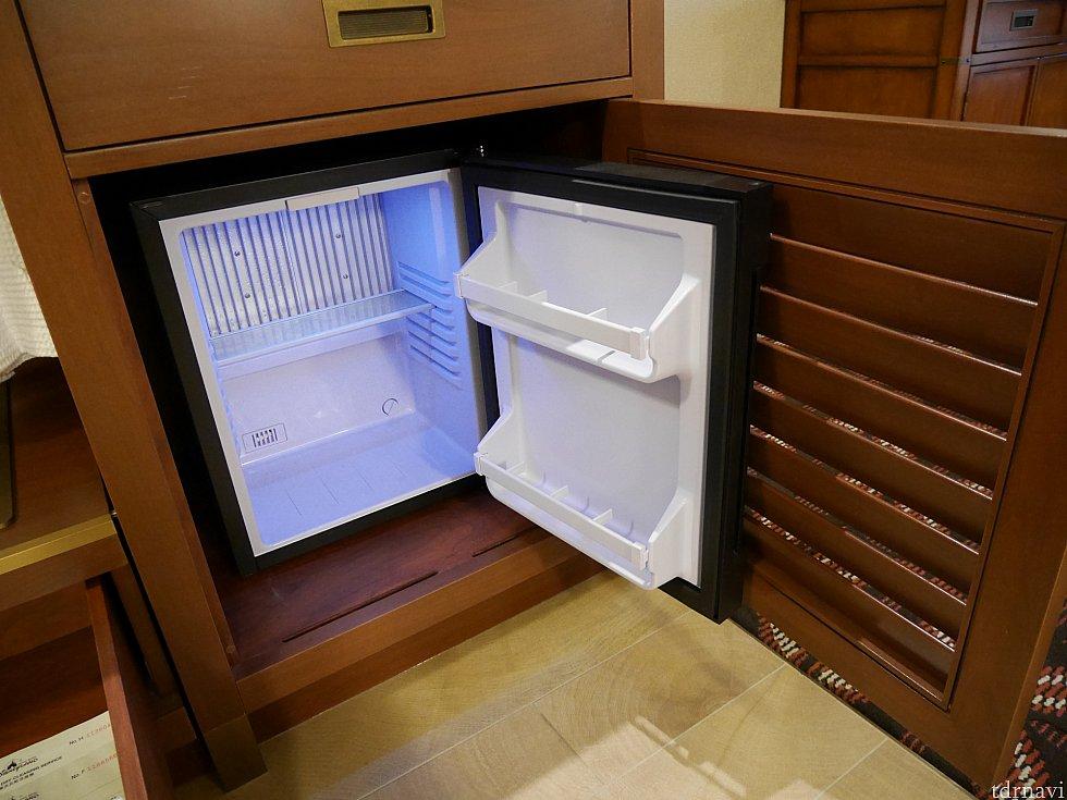 冷蔵庫はペットボトル1本立つ程度。