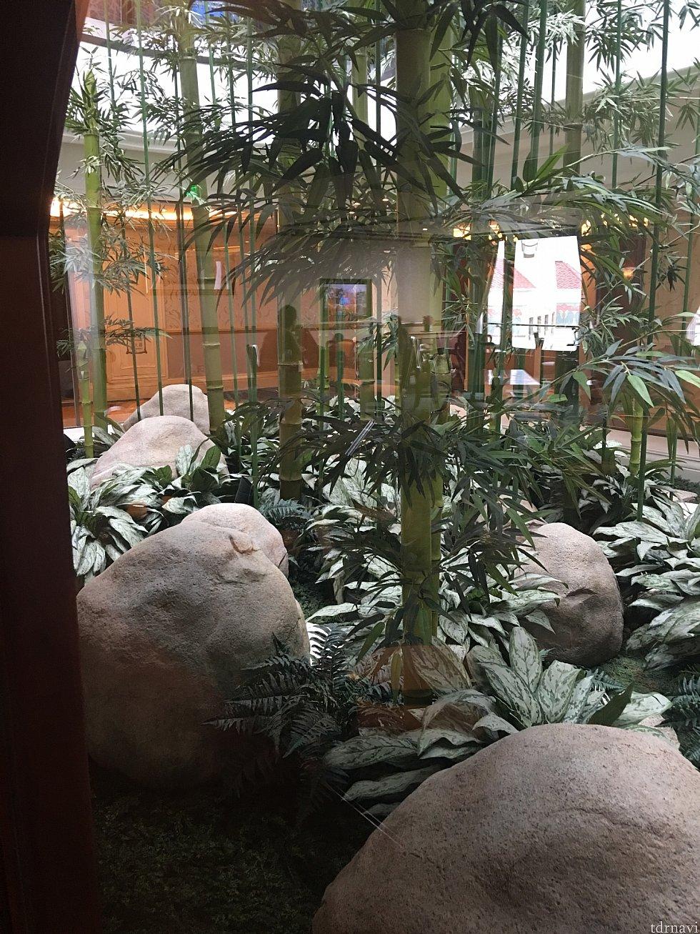 キングダムラウンジの横に吹き抜けの竹庭がありました(*^_^*)