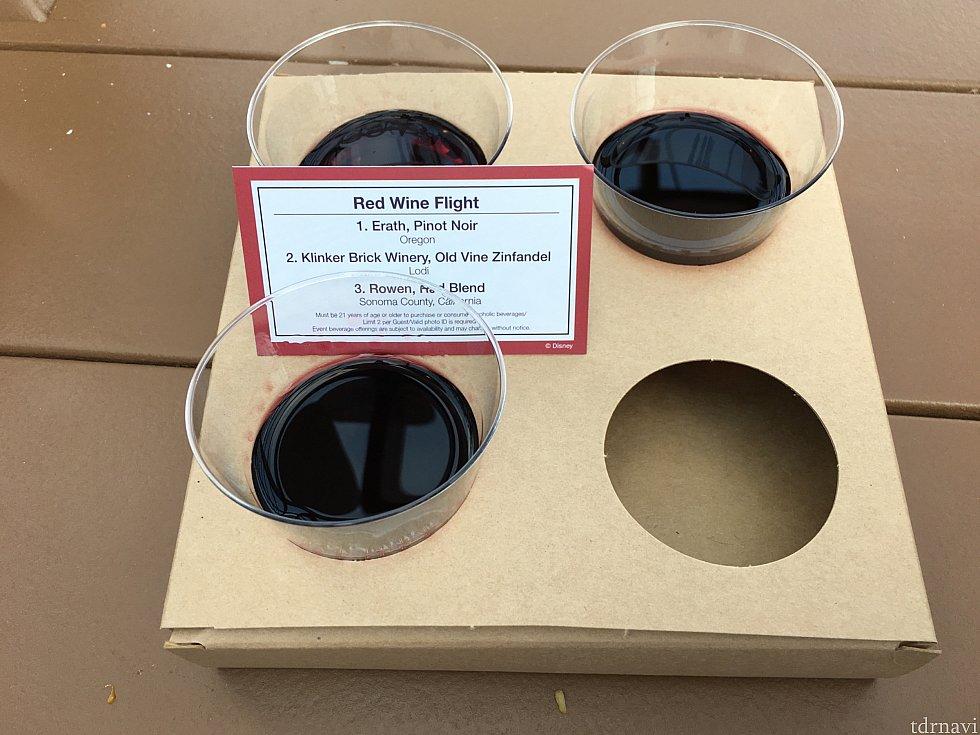 [UNCORK CALIFORNIA]の赤ワインの飲み比べセット。2番がめちゃ渋かった😣