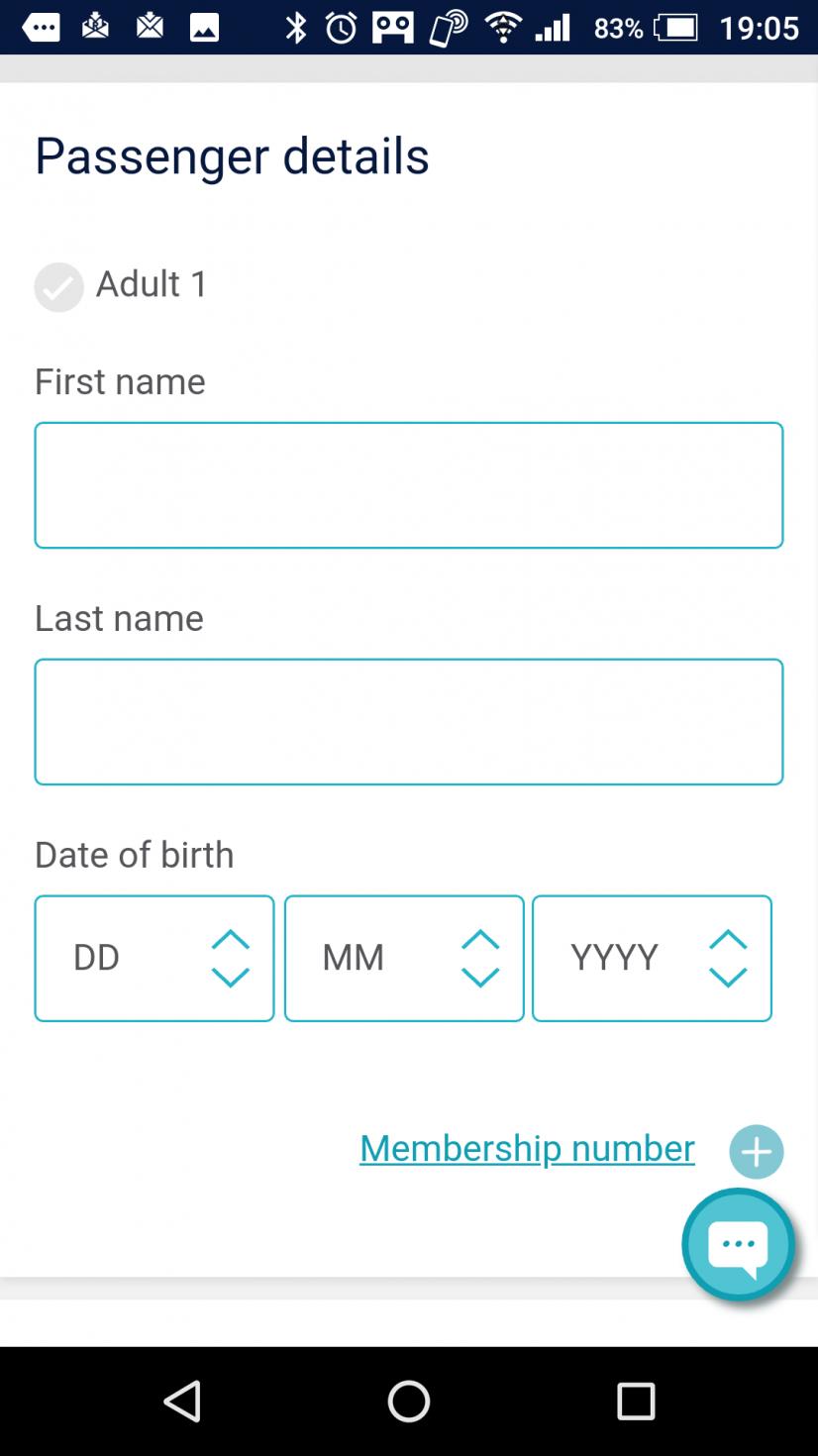 名前と生年月日を入力。国境を越えるときにパスポートチェックがあるので、お間違えなく。