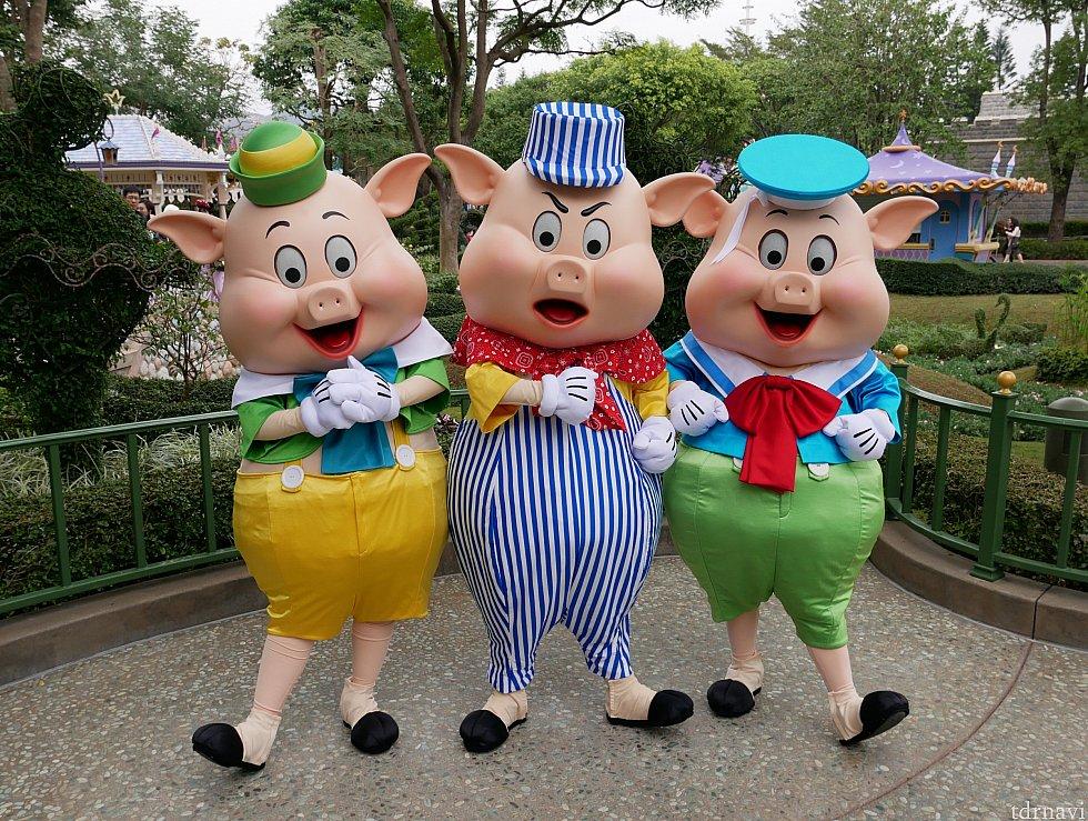 【ファンタジーガーデン】 中国では猪はブタをさすらしく、干支として3匹の子ブタが登場! 他のブースではノーマルの衣装ですがグーフィー、プーさん、ティガーがいました😌