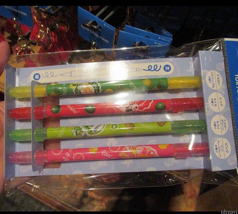 香り付きペンセット パイナップル、スイカ、キューイ、グレープフルーツの四色 800円