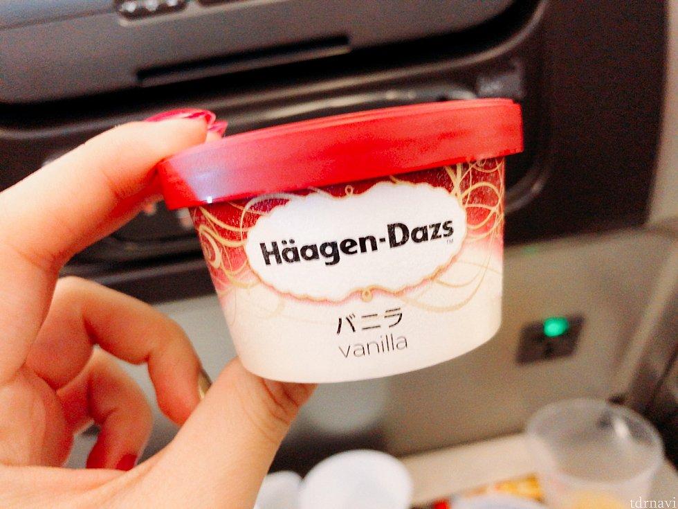 デザートはハーゲンダッツのバニラでした。寒い機内でも完食!