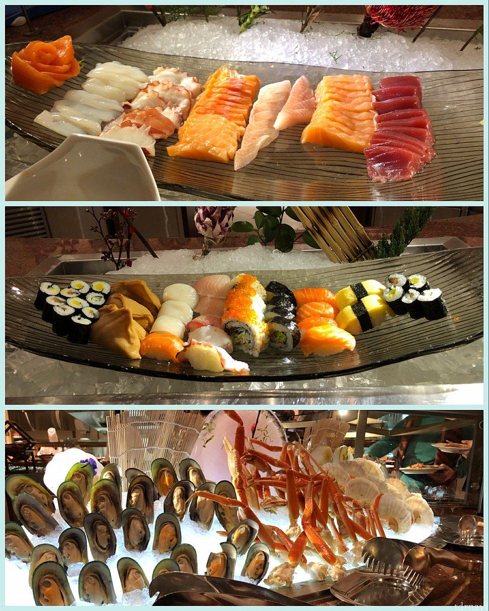 刺身、寿司、海鮮 お刺身は美味しかったし、お腹も大丈夫です(笑) カニと貝は食べてません^^;