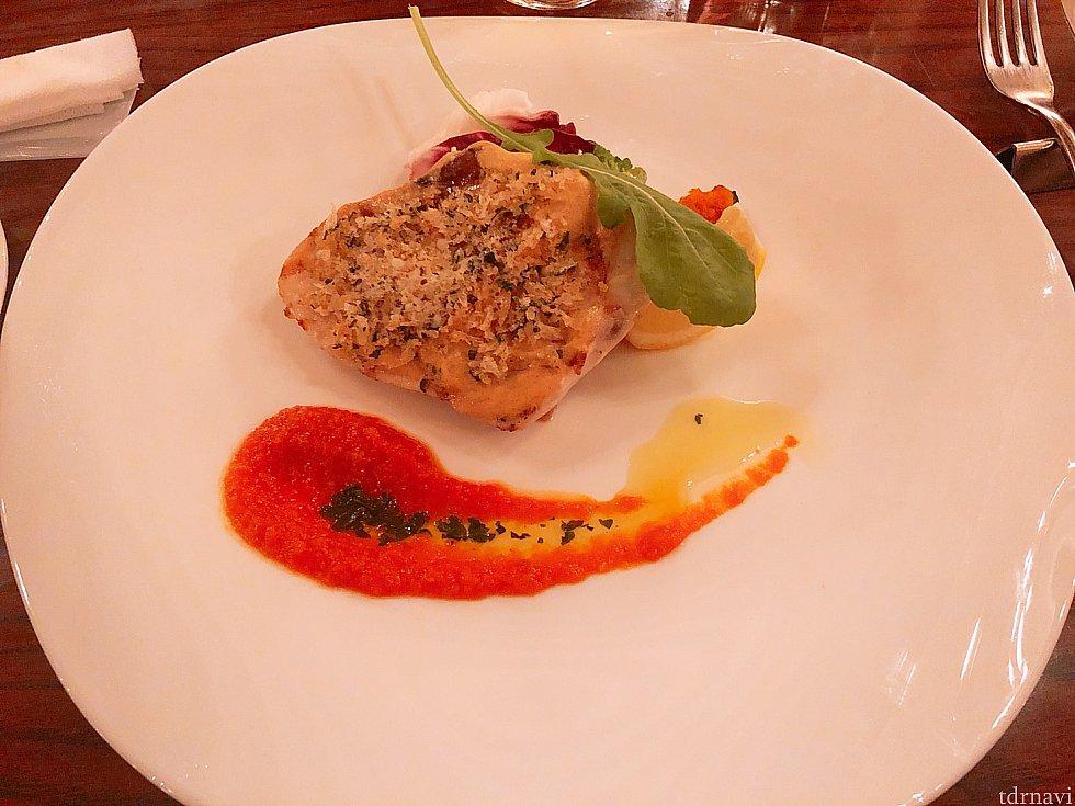 本日の魚料理 この日はメカジキでした。 お肉のように厚くて食感も肉のようでした。これが魚⁇と思ってしまうほどでした