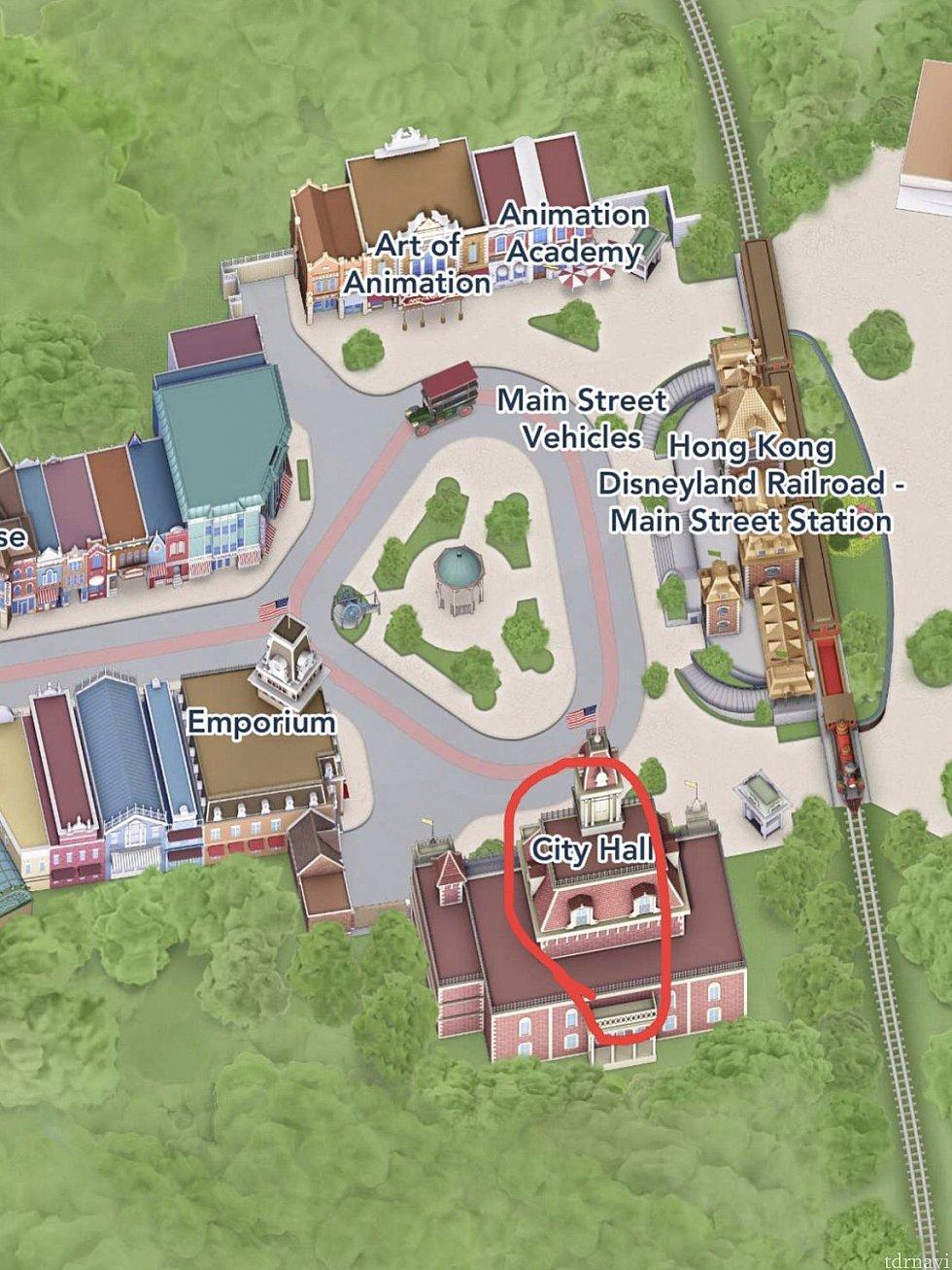 パークに入ってすぐの左側にシティホールがあります♪ 赤丸がシティホールです。