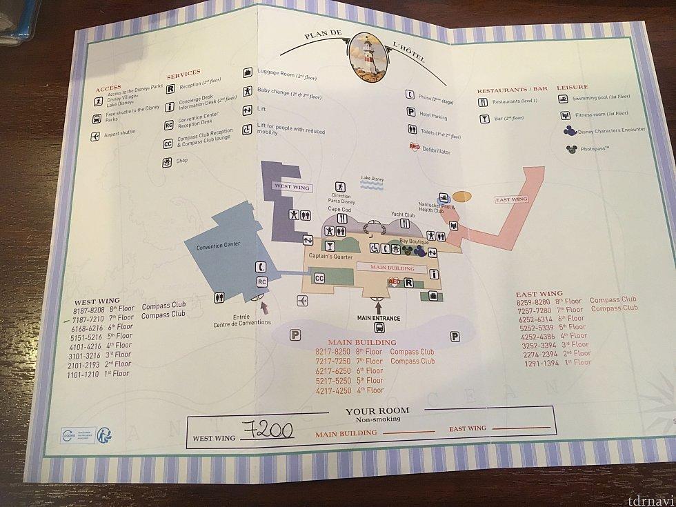 ニューポート・ベイ・クラブの館内案内。この図だとコンパスクラブのレセプションとラウンジが繋がっているように見えますが、実際は別の部屋になっています。レセプションとラウンジは2階、コンパスクラブのお部屋は7、8階です