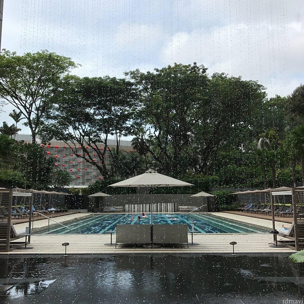ホテル併設の屋外プール。 水着を忘れたので泳がずに見学。