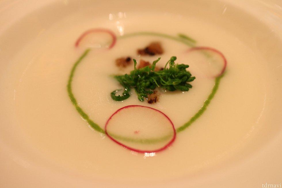 カブのクリームスープ カブの葉と菜の花のクーリ