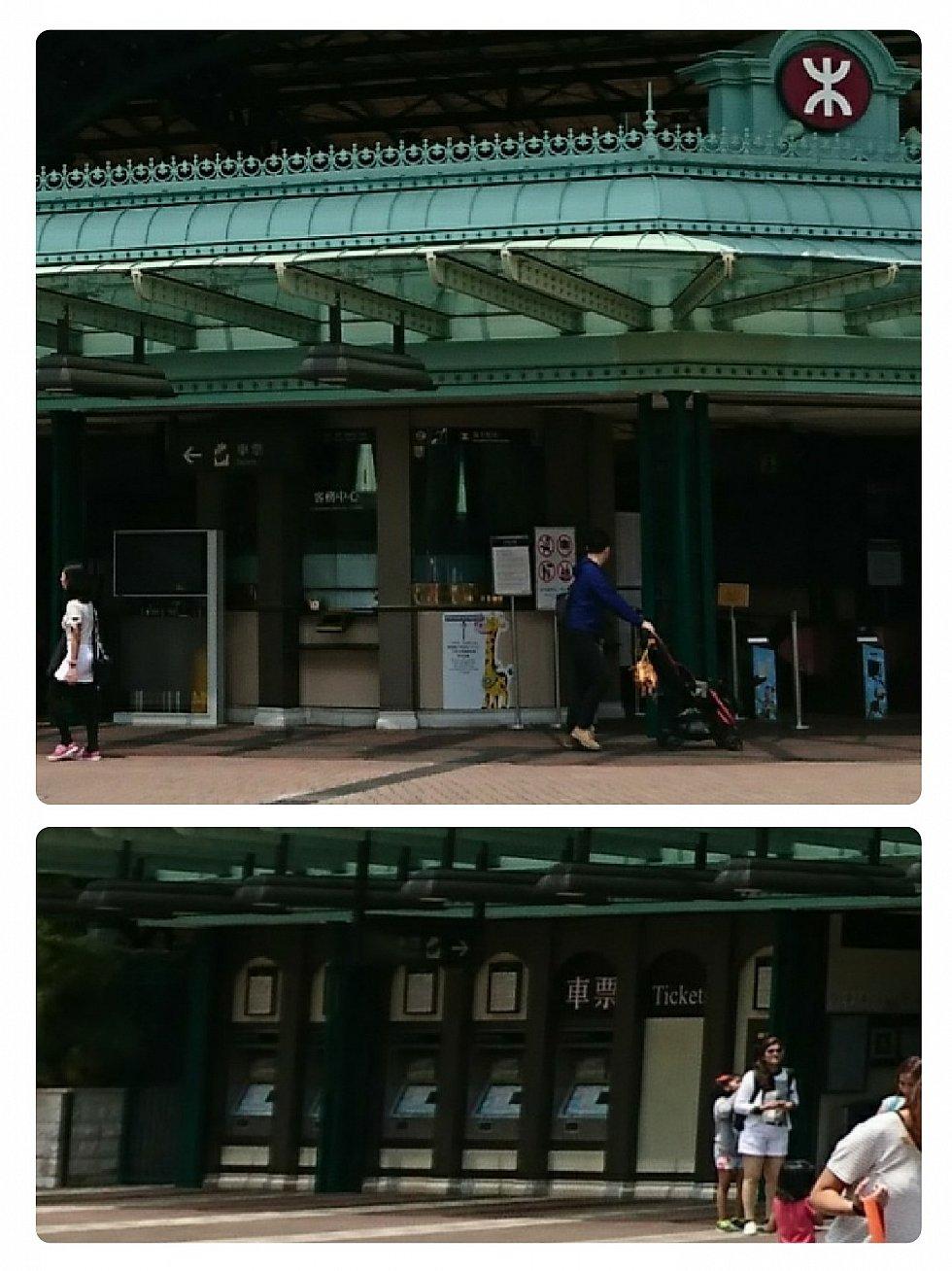 帰りは長蛇の列になる客務中心。オクトパスカードのチャージをするなら到着時がいいです。改札口の左側には券売機もあります。
