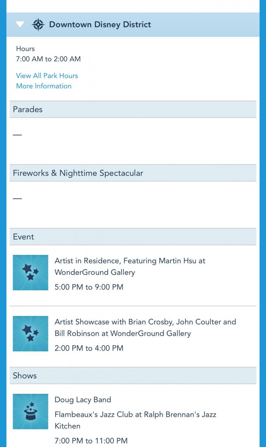 公式ページ。デイスケジュールのダウンタウンディズニーカテゴリにもアーティストイベントが掲載されてます。