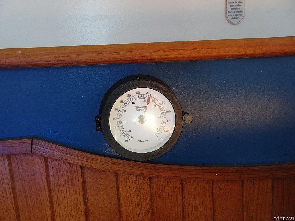 ベランダにある温度計的な何かです。