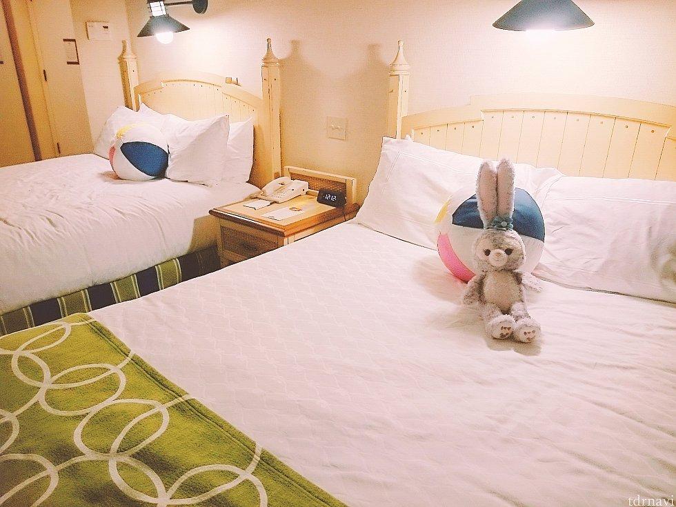ハウスキーピング後、ベッドに設置されていたステラ・ルーさん(笑) (部屋でお留守番してました。)