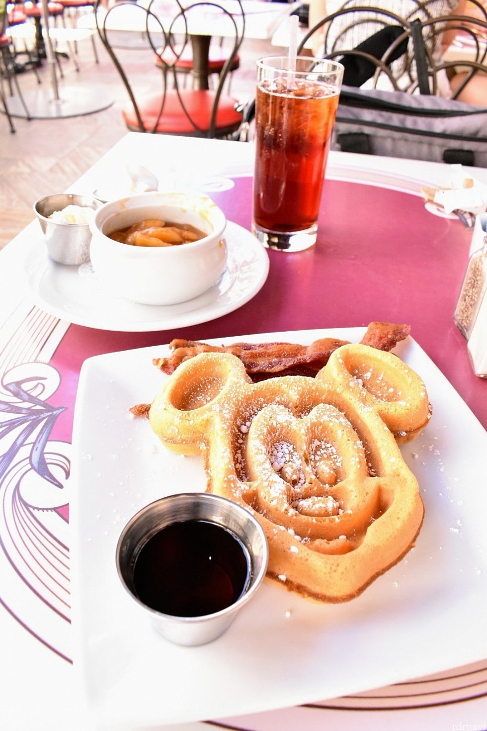 Mickey-shaped Waffle with Apple or Strawberry Topping $13.00