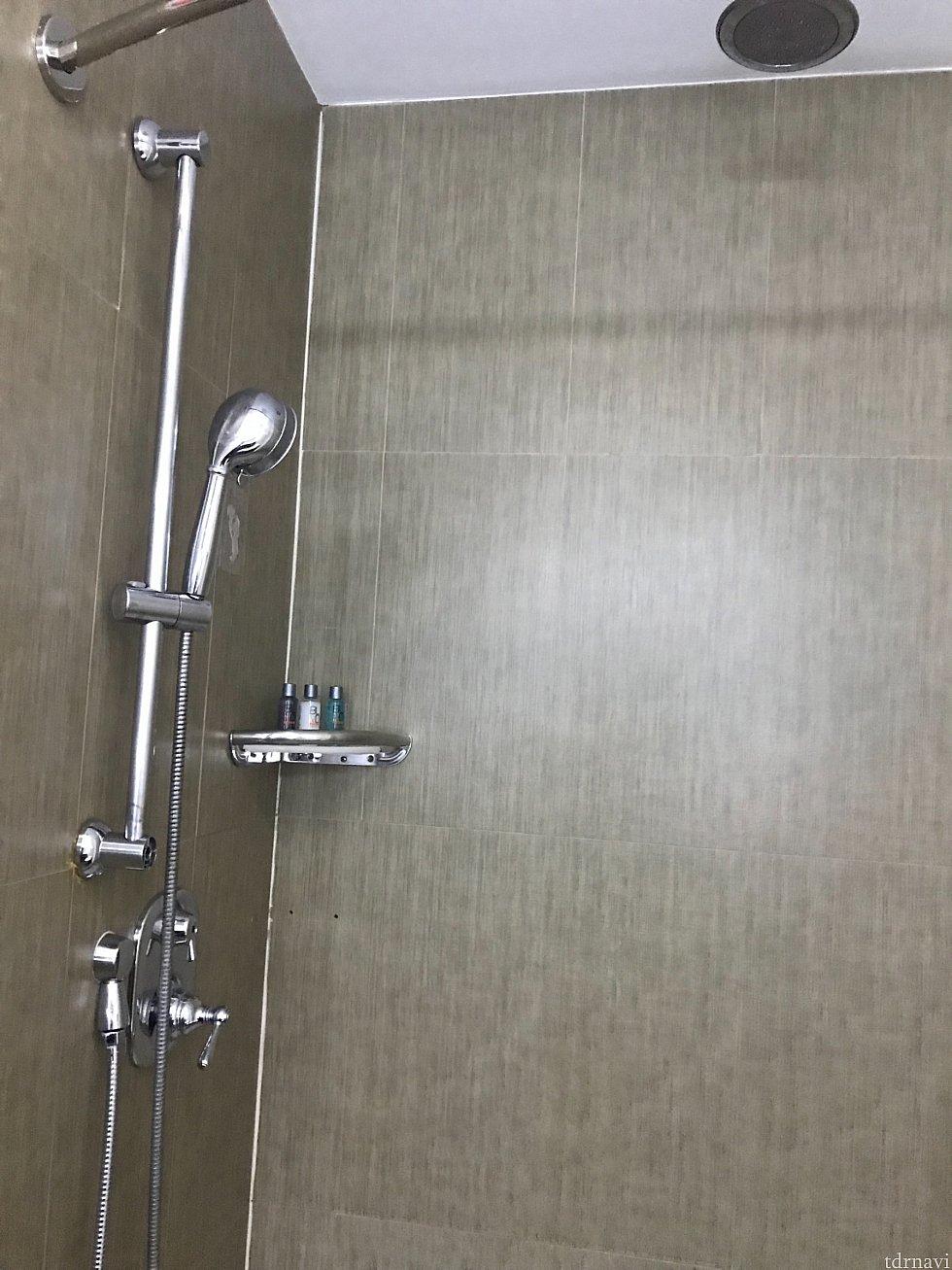 天井に固定シャワーと、手持ちのシャワーが2つありました。手持ちのシャワーヘッドで水圧を変えられます。
