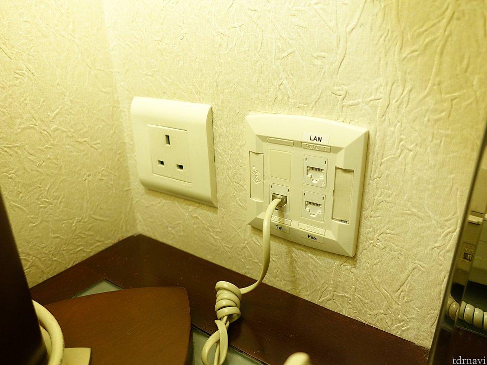 コンセントは変換プラグを持参しましょう。有線LANポートもあります。