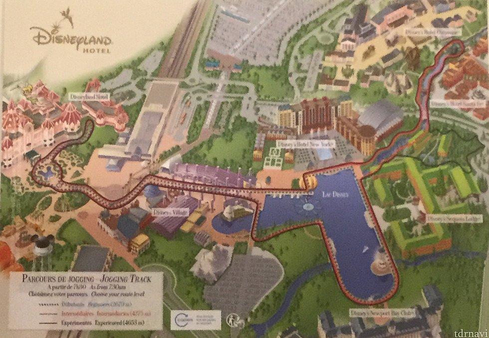 パリディズニーの全体地図、ランドホテルとホテルニューヨークの位置がわかると思います