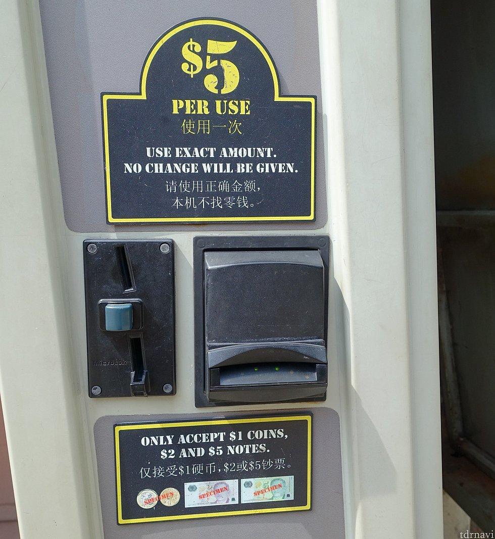 乾燥ボックスは1回5ドル(約400円)。現金のみ。