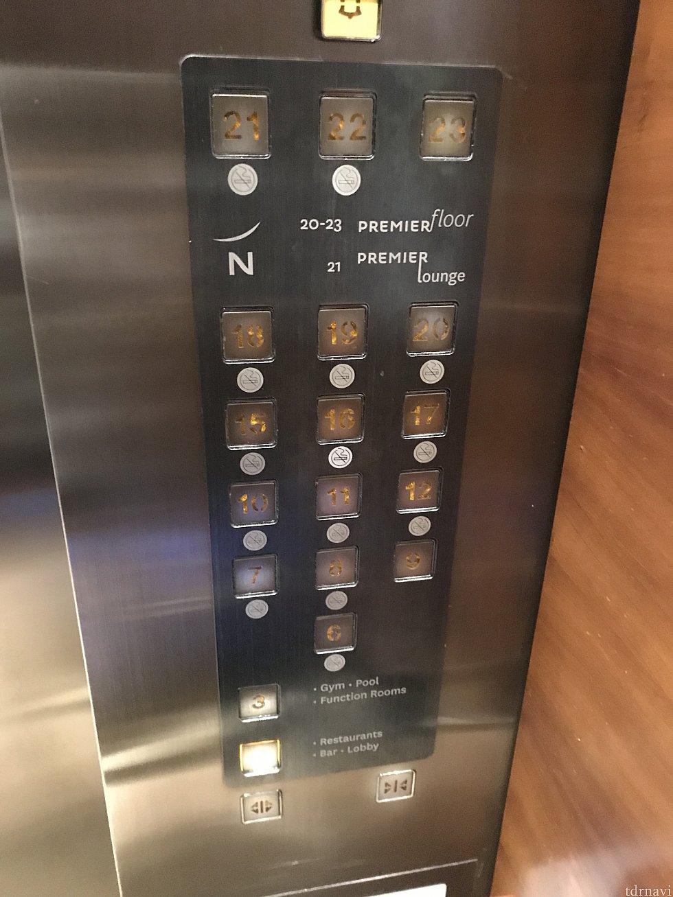 エレベーターのボタン 部屋はこんな感じで分かれてます