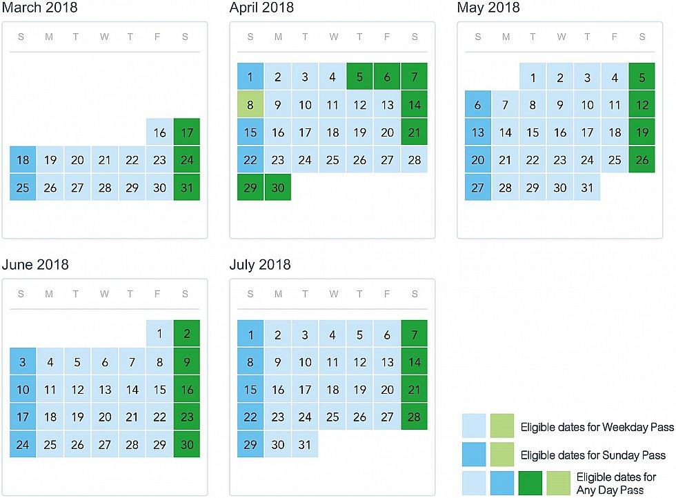 カレンダー。 4/8,4/28は中国では代理出勤日なので平日パスでも入園可能。
